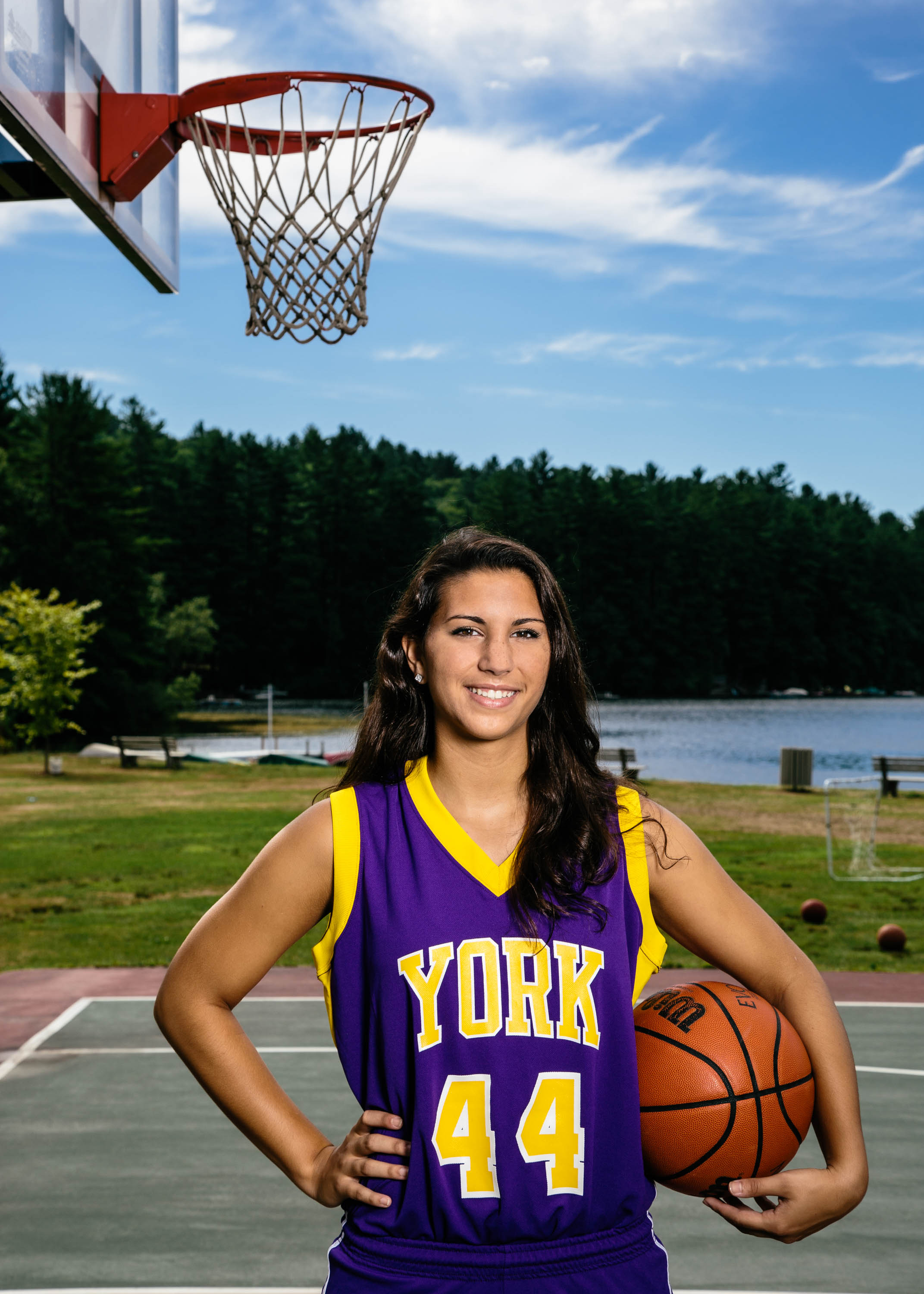 High School Senior Girl with Basketball