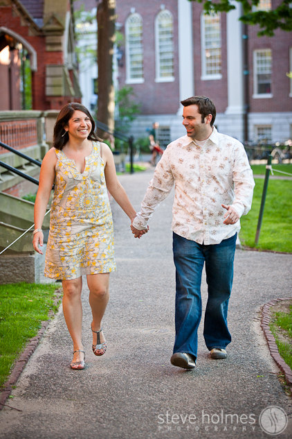 Couple during their engagement session in Harvard Square.