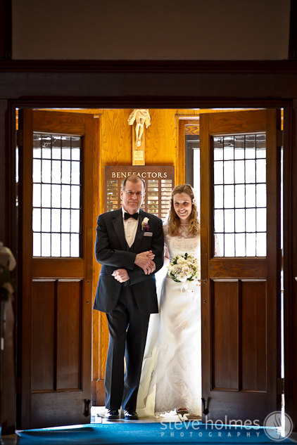 Ashley and her father entering Saint Mary Church.