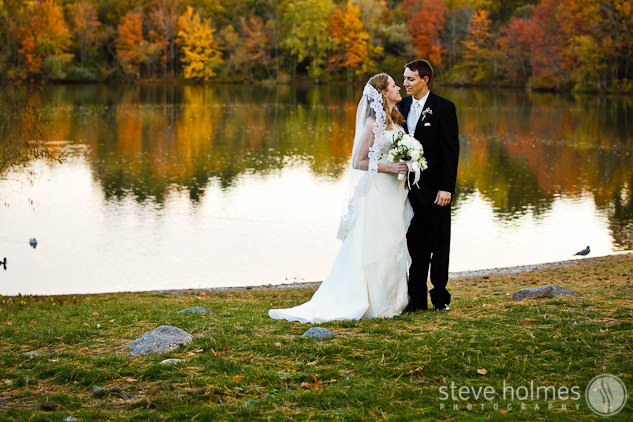 Wedding portrait by Turner's Pond.