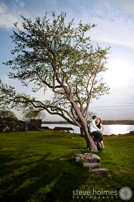 Portrait by a tree in the park in Marblehead.