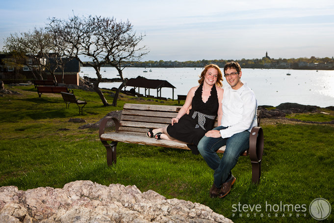 Olivia and Dan on the park bench in Marblehead.