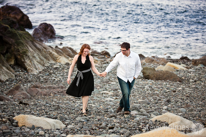 Candid portrait of Olivia and Dan during their engagement session in Marblehead.