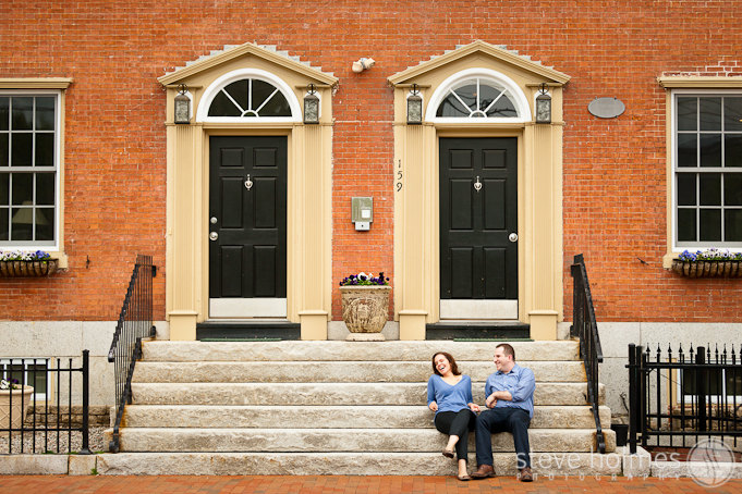On the front steps, one of their favorite places to hang out in Portsmouth.