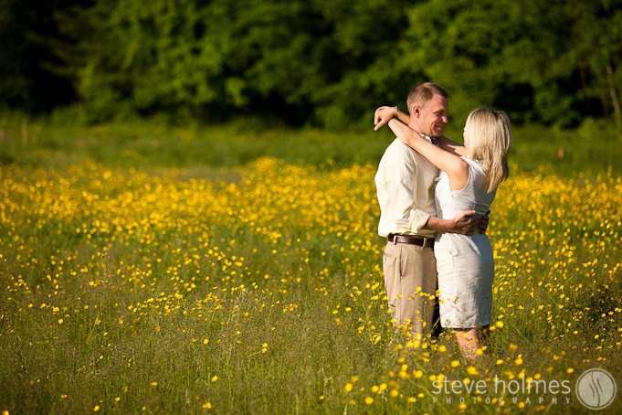 Engagment portrait in a field of New Hampshire wildflowers.