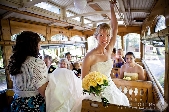 Since the main building was a few minutes from the the carriage house, Sarah took a trolley ride up to the ceremony site.