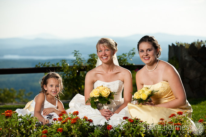 Sarah with her maid of honor and adorable flower girl