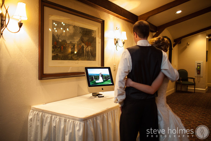 Sarah and Adrian are getting a first look at their wedding photos. As part of my wedding services, I often put together a same-day photo slideshow during the reception.