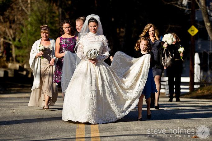 Jill walks to the church alongside her family