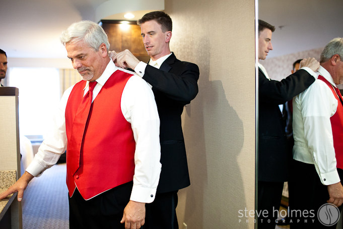 Not too far from Suzanne's room was Michael getting ready for his day with his father and groomsmen