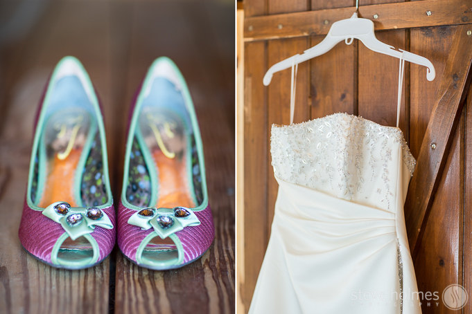 Amy's beautiful wedding gown and colorful shoes