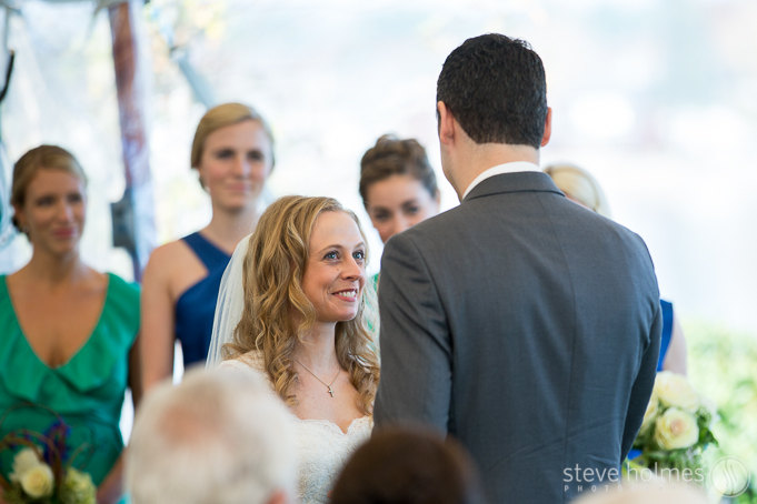 Caroline and David had a beautiful wedding ceremony officiated by Caroline's brother.