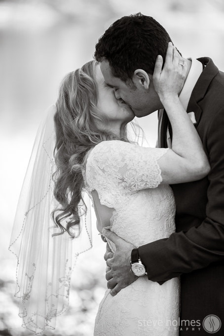 Sharing their first kiss as husband and wife