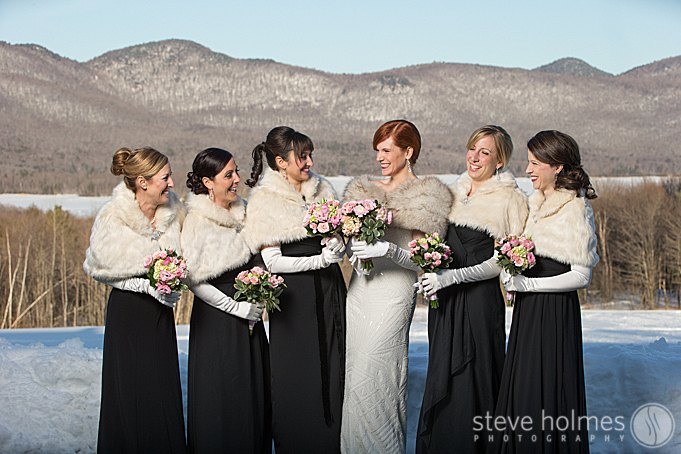 Having some fun with her bridesmaids.