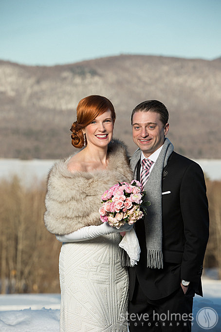 Beautiful winter wedding editorial session with a gorgeous backdrop.