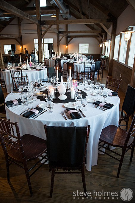 Barn reception details for a winter wedding at The Mountain Top Inn & Resort.