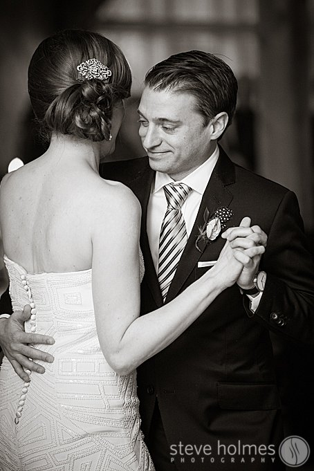 First dance photo in black and white.