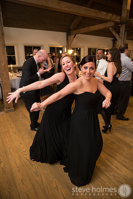 Bridesmaids dancing the night away to Brian Kirk and the Jerks band.