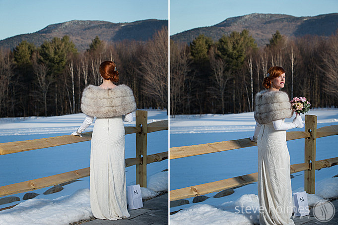 The bride taking in the breathtaking views at The Mountain Top Inn & Resort.