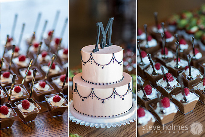 Caketopia Cakes did a beautiful job with their black and white cake including a monogrammed cake topper.