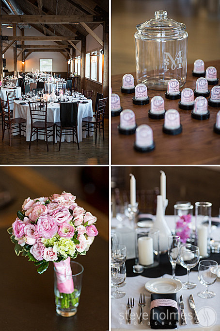 Reception details in the new Barn at The Mountain Top Inn & Resort.