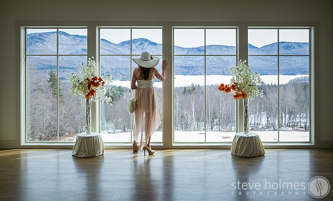 A guest taking in the mountain views at The Mountain Top Inn & Resort in Chittendon, VT.