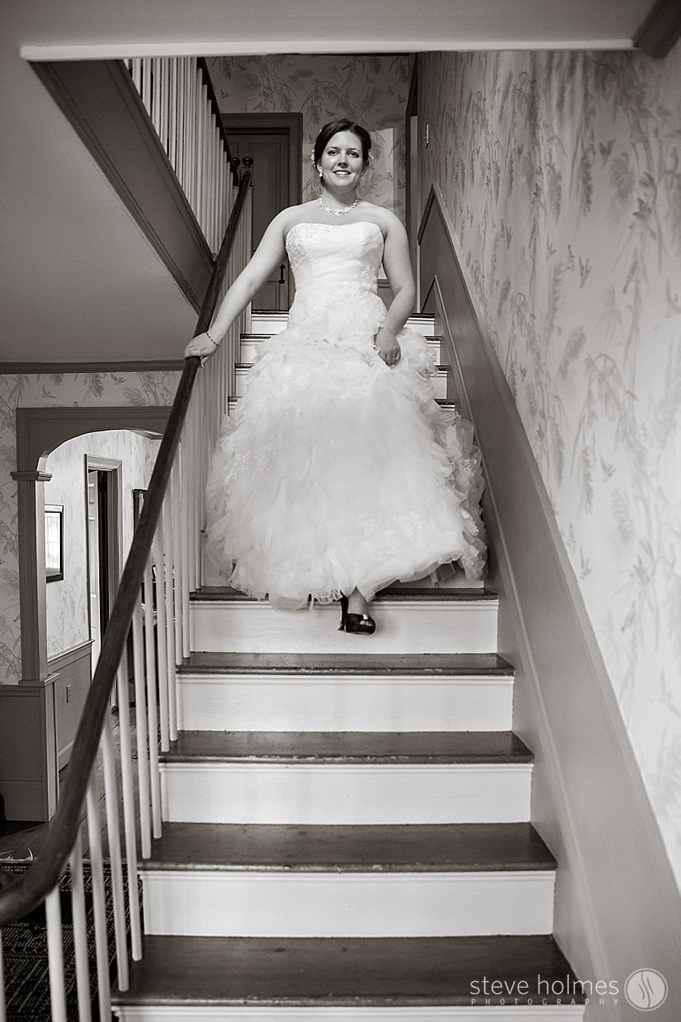 The bride walking down the stairs at Alyson's Orchard and is ready for her wedding!