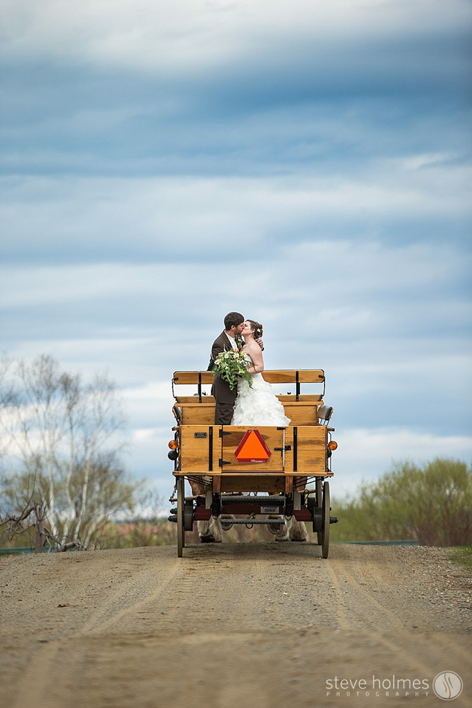 The couple riding the horse drawn carriage after their ceremony.