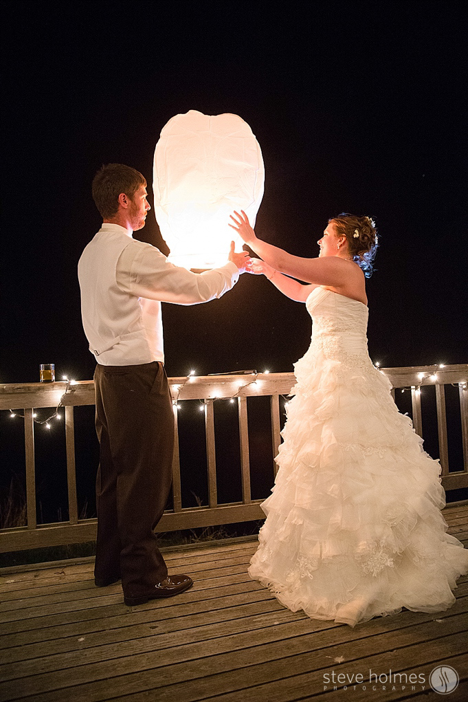 The couple lit and released a sky lantern at the end of their special day.