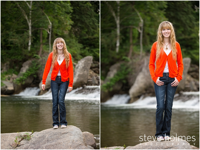 14_girl-in-red-shirt-by-river-for-senior-portraits-in-vermont