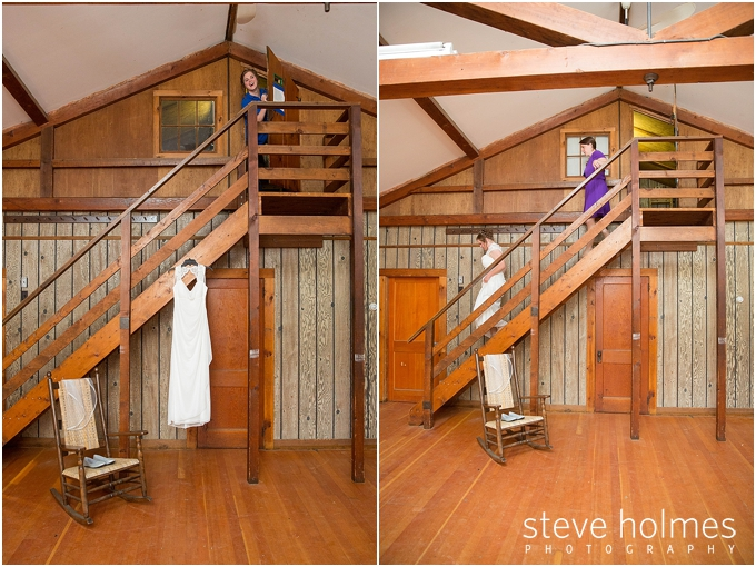 4_bride-peeking-out-from-door-with-dress-hanging-from-railing