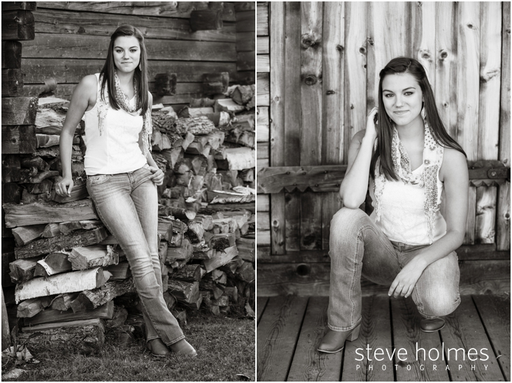 12_black-and-white-image-of-girl-by-wood-pile-for-senior-portraits