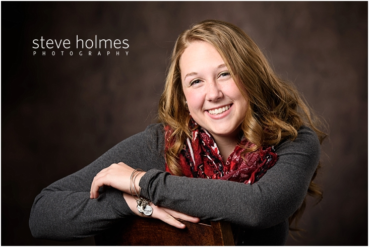 01_Keene-High-School-Senior-Portraits-Red-Scarf-Gray-Shirt