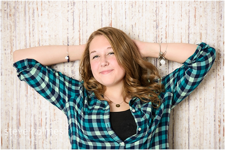 03_Keene-High-School-Senior-Portraits-Plaid-Teal-Shirt