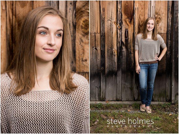 15_Keene-High-School-Senior-Pictures-Outdoors-Wood-Wall-Tan-Sweater