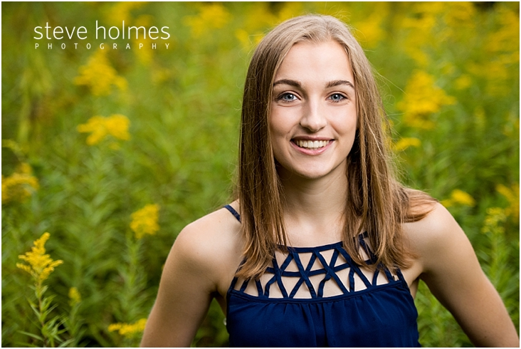 24_Keene-High-School-Senior-Pictures-Outdoors-Wildflower-Field-Blue-Dress