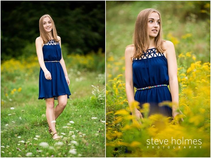 26_Keene-High-School-Senior-Pictures-Outdoors-Wildflower-Field-Blue-Dress