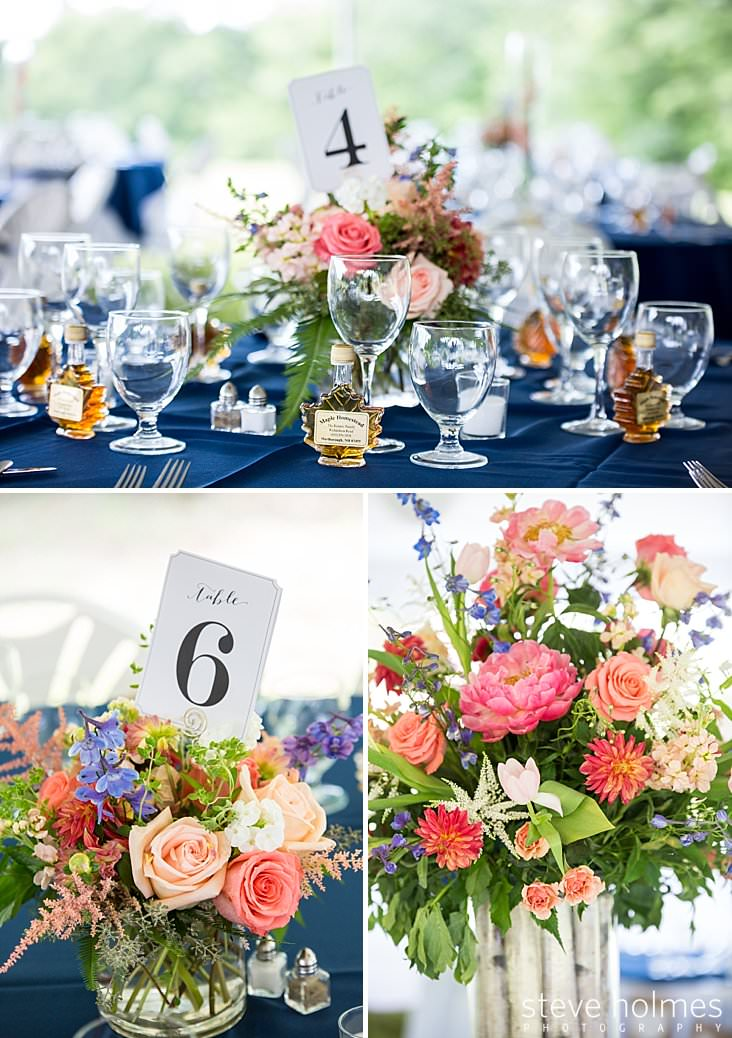 01_Table settings with blue tablecloths and maple syrup favors.jpg