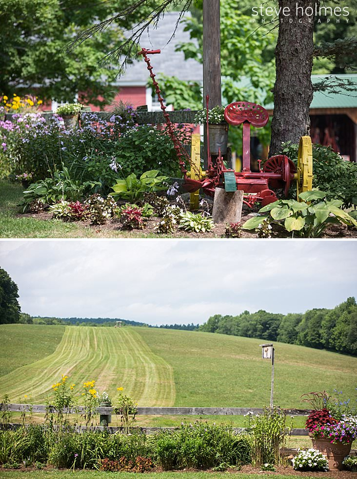 09_Antique, red painted tractor is displayed in garden.jpg