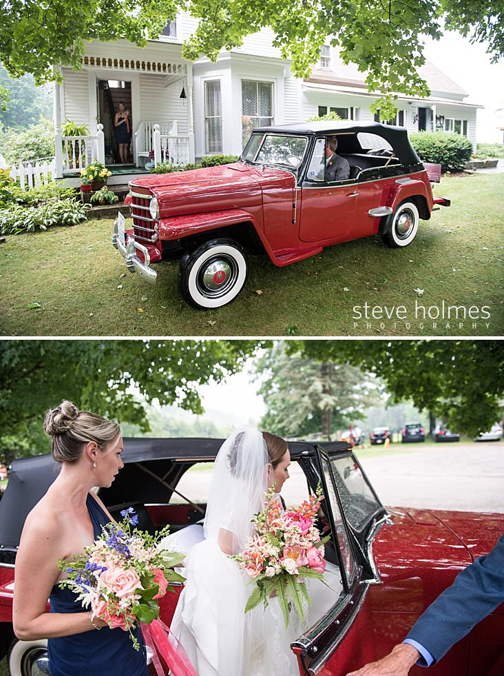32_Father of the bride waits in red antique car outside of farm house.jpg