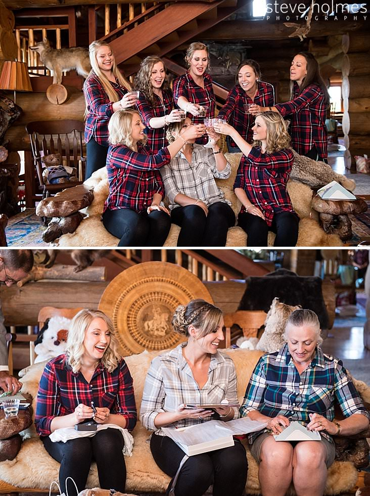 Bride and bridesmaids cheers with champagne and matching plaid.jpg
