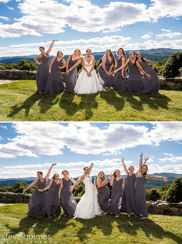 Bride and bridesmaids make funny faces in front of Vermont mountains.jpg