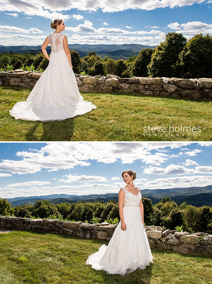 Bride looks out over Vermont green mountains.jpg