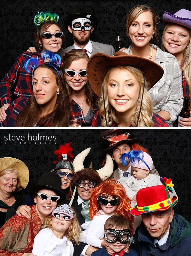 Bride poses with bridesmaids in costumes and groomsman in photobooth.jpg