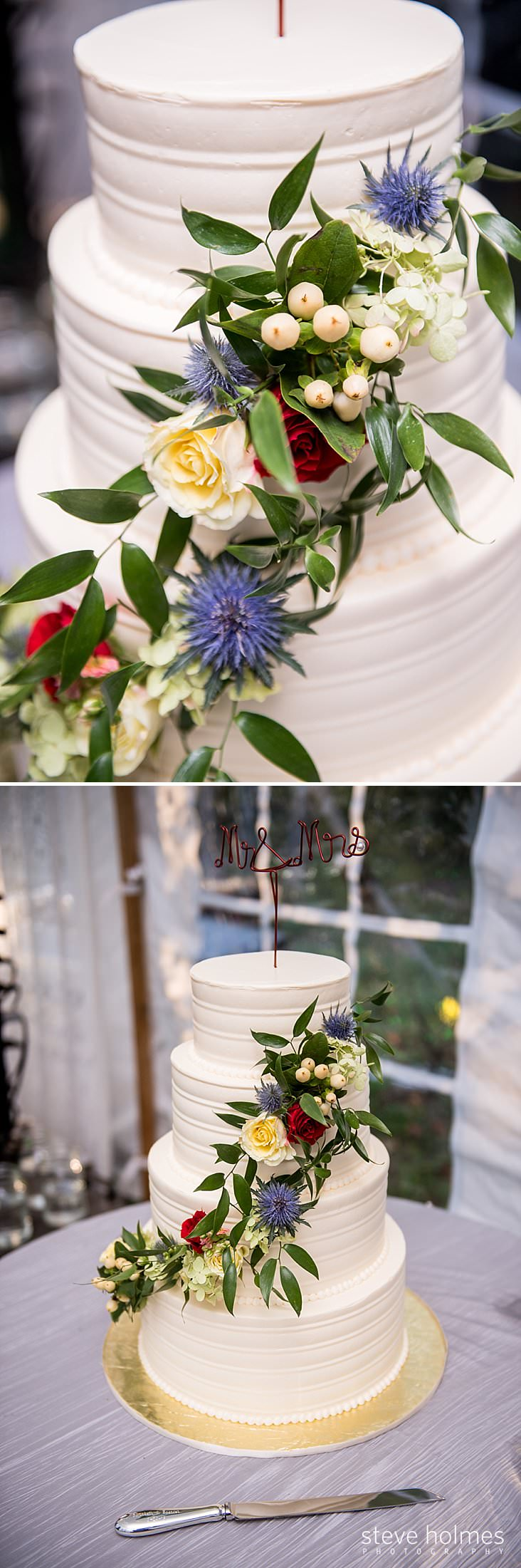Close up of white wedding cake and draping chain flowers.jpg