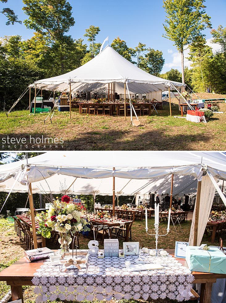 Tent set up for wedding with peaked top and flag.jpg