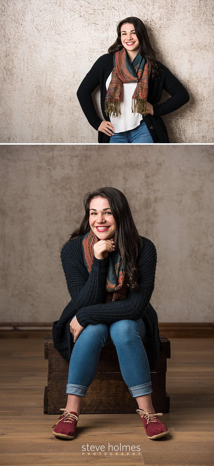 07_Teenage girl smiles wearing black sweater, scarf and jeans.jpg