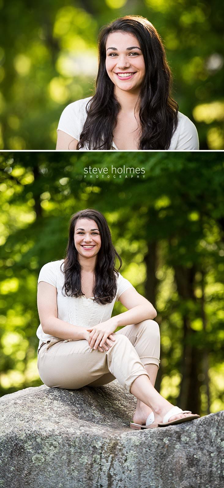 09_Brunette girl smiles against green outdoor backdrop.jpg