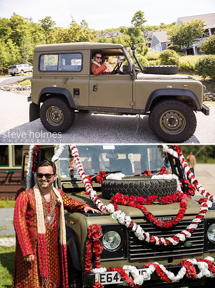 16_Groom arrives in an antique land rover.jpg