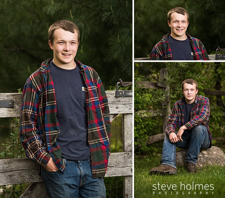 02_Teen boy leans against fence in blue shirt, jeans and flannel.jpg
